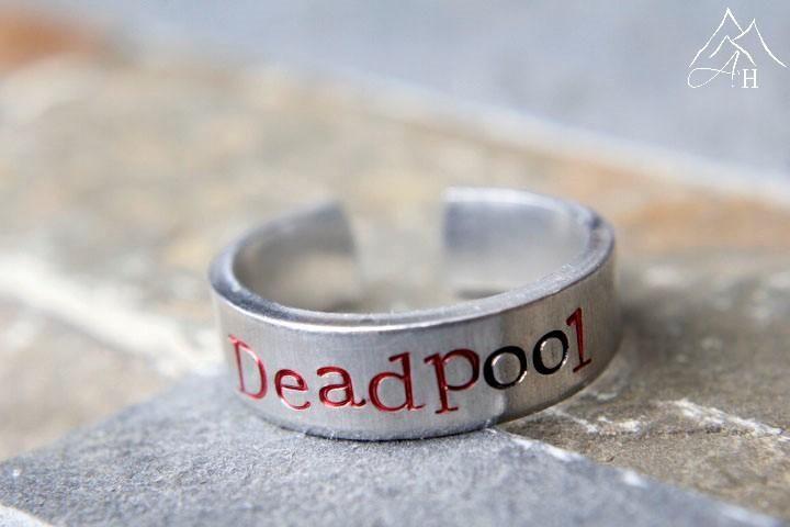 Deadpool Hand Stamped Aluminum Adjustable Ring