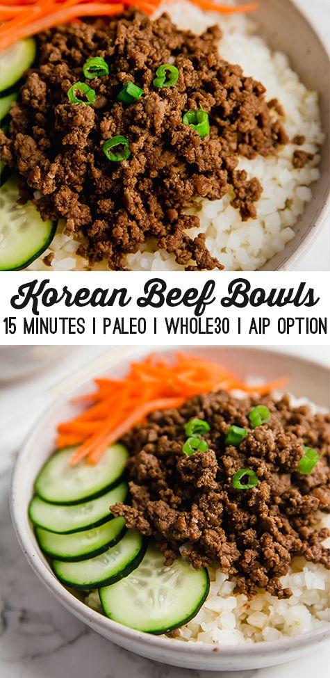 Korean Ground Beef Bowls Unbound Wellness Recipe In 2020 Korean Ground Beef Beef Bowls Healthy Ground Beef