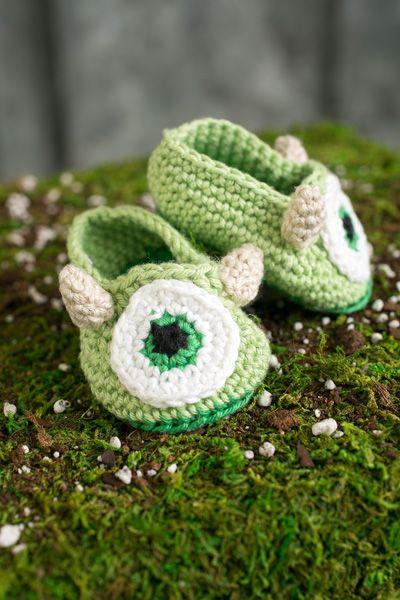 Mike Wazowski Monster Baby Booties - Crochet Pattern