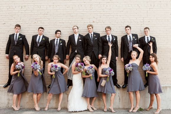 Amazing Wedding Party Group Shots In This Grey And Purple