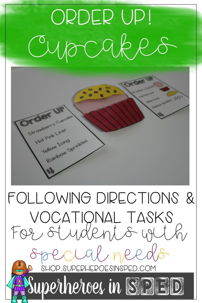 Order up! Cupcakes! Students can work on Reading comprehension and vocational tasks galore!!!