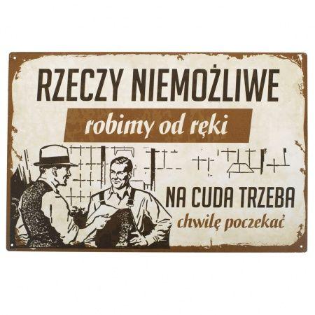 """Tablica """"Rzeczy niemożliwe robimy od ręki"""" - Sklep SpodLady.com :: Nietypowe prezenty, absurdalne i śmieszne gadżety w klimacie PRL. cena: 19zł"""