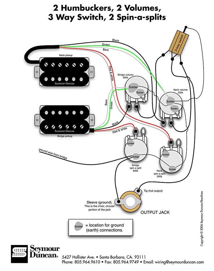 Seymour Duncan wiring diagram  2 Humbuckers, 2 Vol, 3 Way, 2 SpinaSplits | Tips & Tricks in