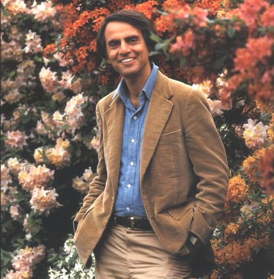"""Carl Sagan jacket photo to """"Cosmos"""".  One of the greatest books I've ever read."""