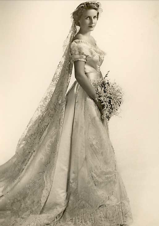 1950's model wearing a gown from 1866 http://www.pinterest.com/NewMrsThornton/i-do-did/