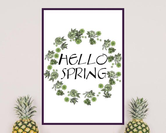 HELLO SPRING Greenery printable wall art. Ideal to decorate you living room. Spring is coming!