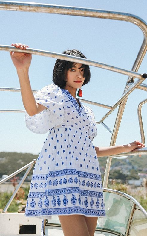 SINCE THEN Blue Embroidery Vacation Dress