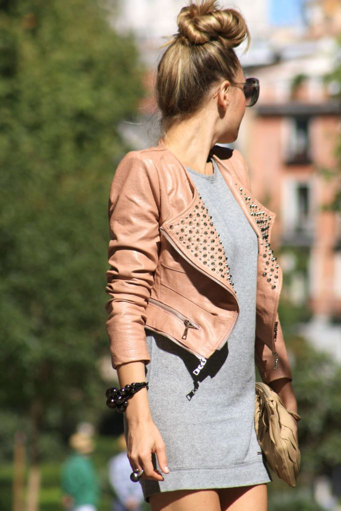 Tan studded biker jacket over a simple grey dress. RocketDog Style