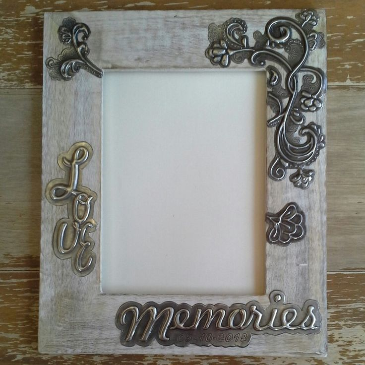 """Personalised (design,date & word) """"Memories"""" Lime Washed Embellished Frame (photo 20cmx15cm) by Pear Tree Handmade Crafts"""