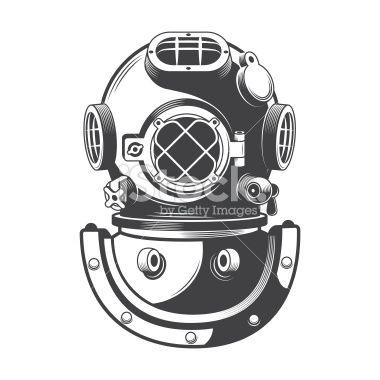 Vintage diving helmet Royalty Free Stock Vector Art Illustration