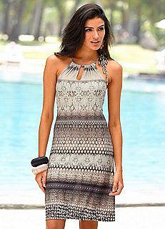 Grey Print Beach Dress by Buffalo London