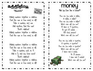 Songs to teach math concepts. This site has so awesome worksheets! look around