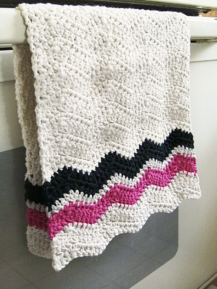 Crochet Patterns Dish Towels : Pink and Black Chevron Dish Towel - 100% Cotton - Crochet - Natural ...