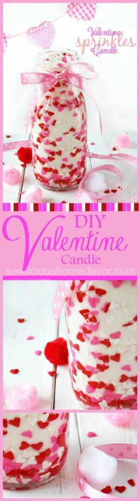 Mason Jar Valentine Gifts and Crafts | DIY Ideas for Valentines Day for Cute Gift Giving and Decor | Valentine Sprinkles Candle Gift | http://diyjoy.com/mason-jar-valentine-crafts