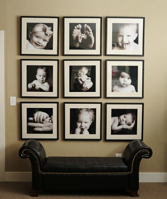 I love this photo wall and will definitely do this in the family room