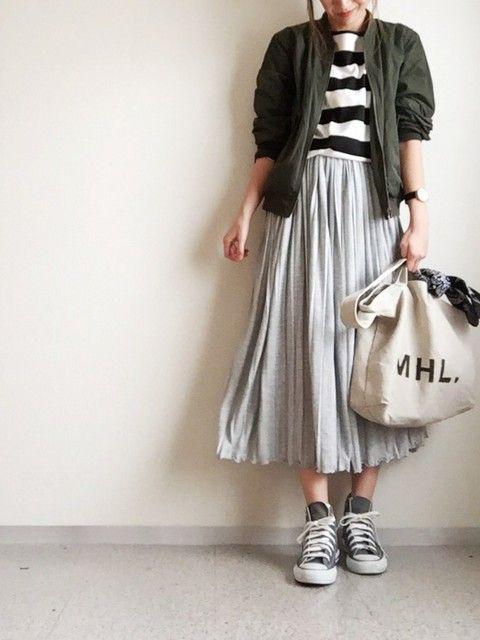 30代アラサーのGUコーデ3 GUのMA-1をスカートで可愛く着こなす方法♡