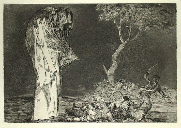 GOYA y LUCIENTE  Francisco (1746 -1828) - Le Vieillard errant parmi les fantômes - gravure de la série  des Proverbes  1864