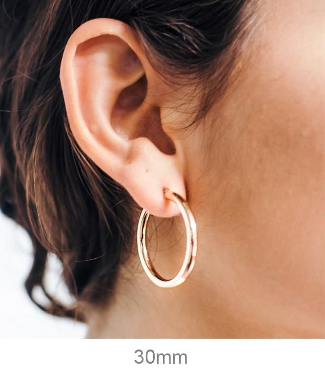 14k Rose Gold Hoop Earrings With Click Top Clasp 3mm