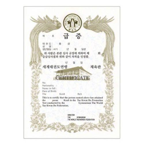 Wtf Certificado de premio Eng Kor Taekwondo Kukkiwon Coreano Tkd Corea 10sheet