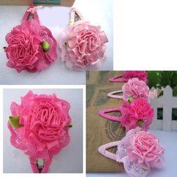 2 PAR Barn, Flickor, Rose prinsessan blomma hårspännen MIX