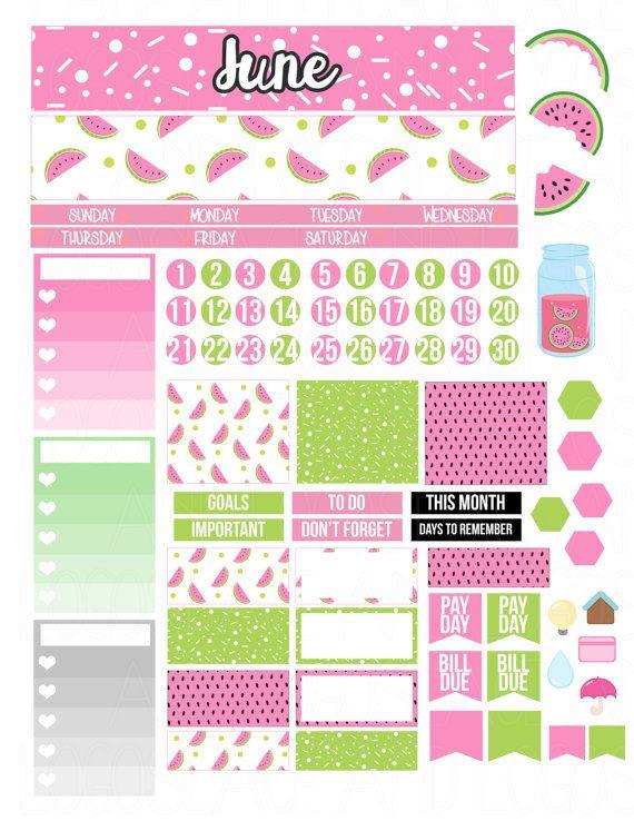 Printable Planner Stickers June Monthly Kit Erin by LaceAndLogos