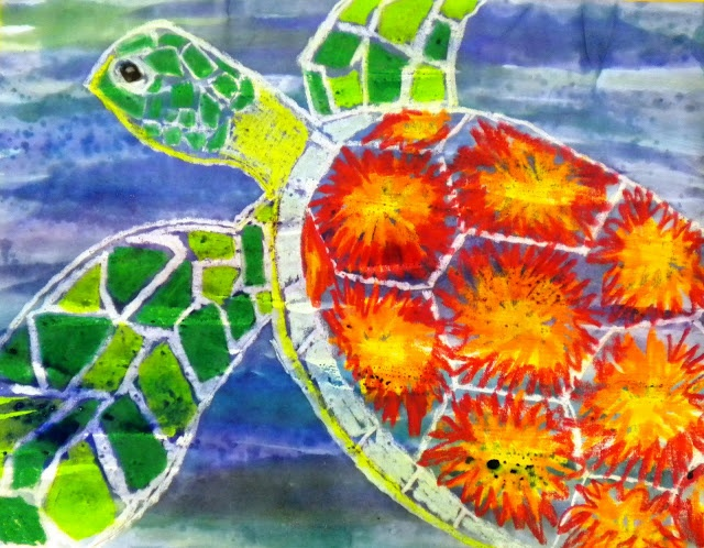 sea turtle art. Oil pastels and watercolor. Looks like the watercolor was first.