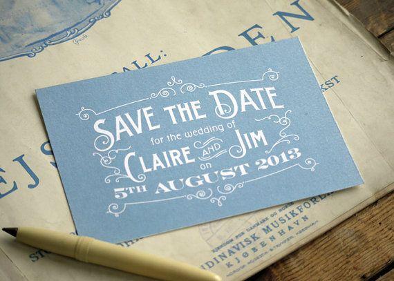 Dusky blue vintage Post Card Save the Dates by PRINTforLOVEofWOOD www.printforloveofwood.com