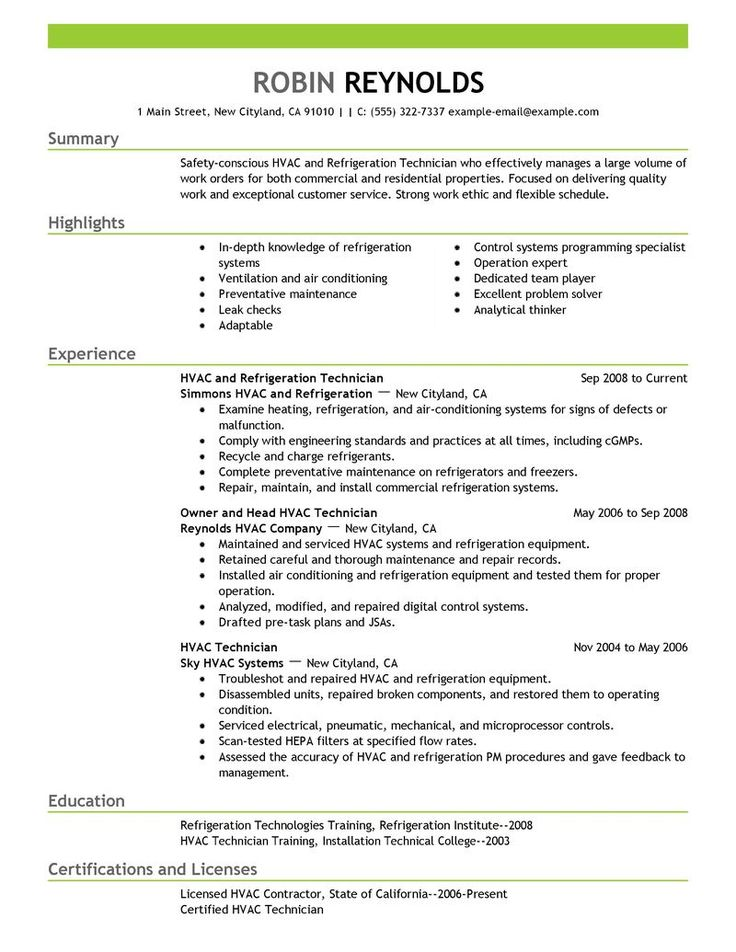TCAT - D Tech Foundations (durham0078) on Pinterest - hvac technician resume