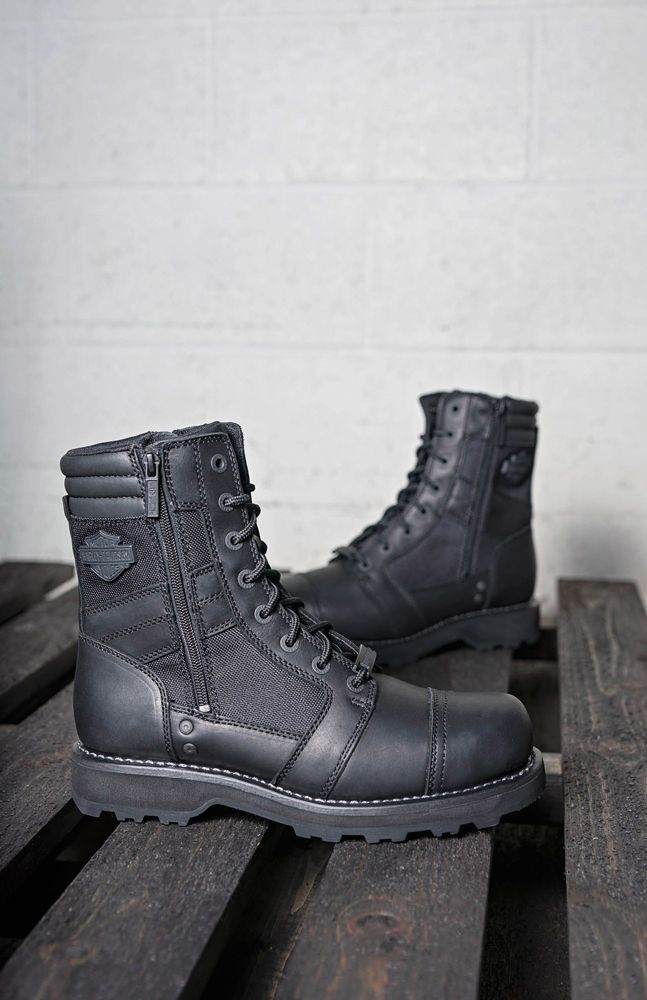 222e6157ccd Moto style for everyday wear. The Harley-Davidson Footwear Boxbury boots  feature water-resistant leather on a lightweight