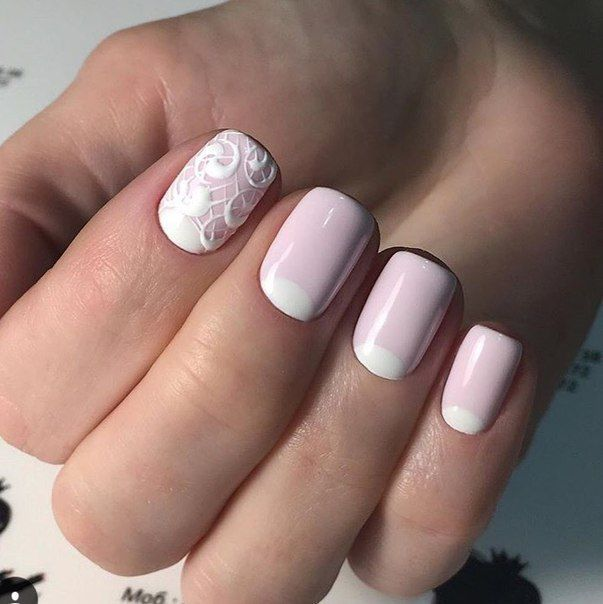 Bridal nails, Gentle half moon nails, Half-moon nails ideas, Ideas for short nails, Nail designs for short nails, Pale pink nails, Pattern nails, Two color nails