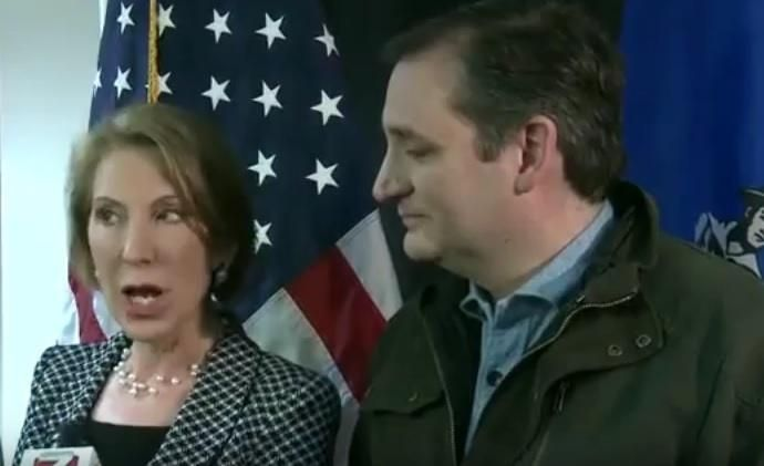 SURREAL=> Carly Fiorina Jumps in to Defend Ted Cruz After He Won't Tell Reporters if He Cheated on Wife Heidi (VIDEO)  Jim Hoft Mar 28th, 2016