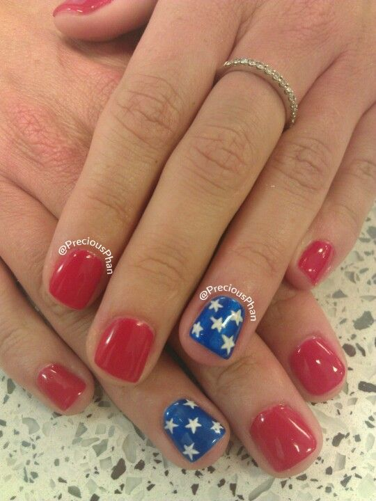 4th if July, stars, red and blue nails