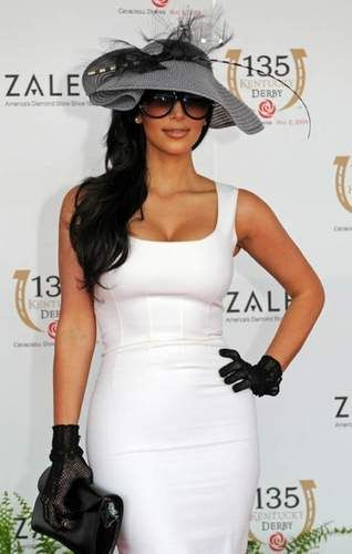 Sticking with the traditional black and white colours of Derby Day is Kim Kardashian, photographed here at the Kentucky Derby