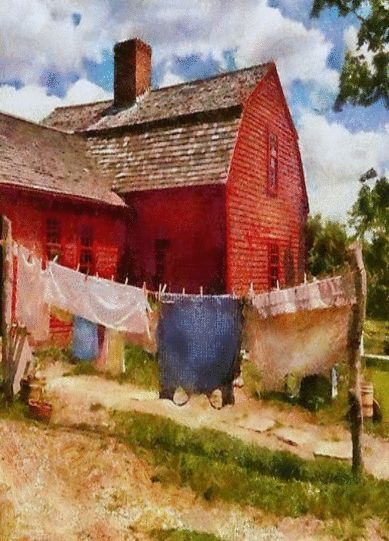 Clothes Line By Red Farm Barn