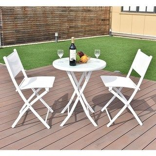 Costway 3 Pcs Folding Bistro Table Chairs Set Garden 400 x 300