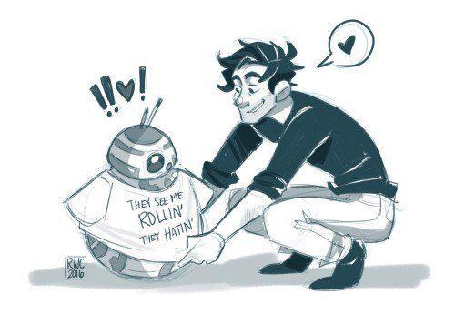 Poe and BB-8  Haha nice shirt