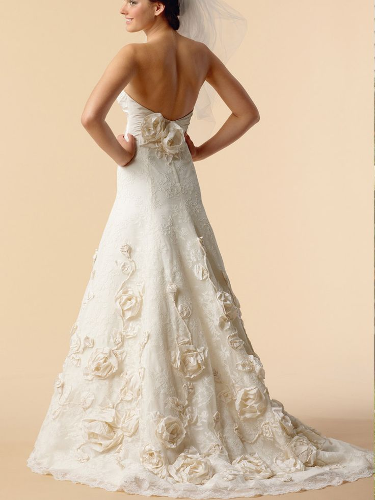 Embroidered Lace Strapless Unique Wedding Dress