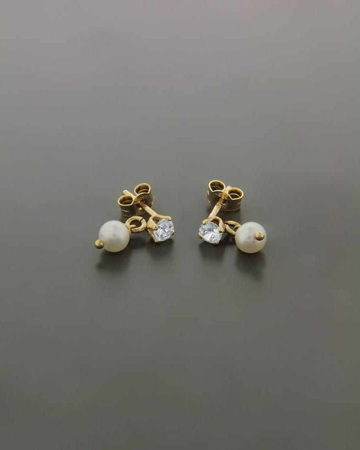 Σκουλαρίκια χρυσά Κ14 με Μαργαριτάρια & Ζιργκόν