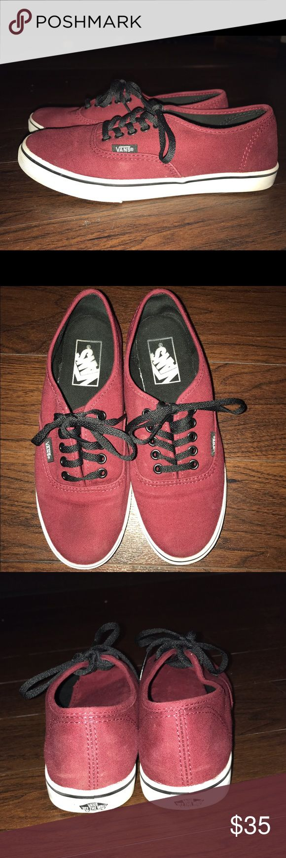 Maroon Vans For sale is a gently worn pair of maroon vans. They are in good condition, as they were not worn a lot. The only thing is they have a slight stain on the front of the left shoe, as pictured. Hardly noticeable when wearing but still wanted to point it out! :) thanks! Vans Shoes Sneakers