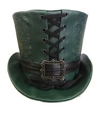 Top clothing Tops  Embossed Leatherlook top Steampunk Steampunk Steampunk Green plus women bottle     and Hats    green for hat