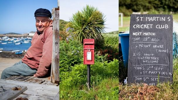 A small-town feeling    A lifelong Scilly resident (left); the only post box on Bryher (centre); St Martin's Cricket Club shows upcoming matches on its blackboard. (Julian Love)