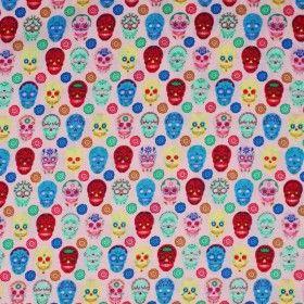 Tissu Enfant Coton - Crânes Rose