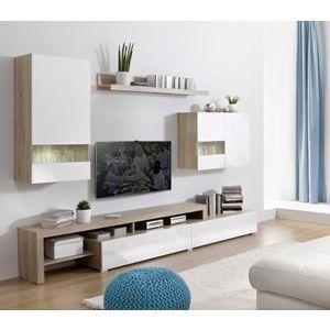 Meuble tv design mural Boran blanc