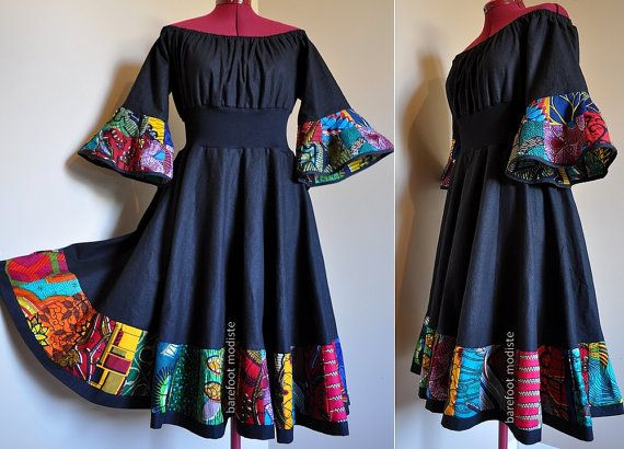 Dance With the Night - Short Dress, Black Dress with Bright Patchwork, Ooak Boho Patchwork Dress,