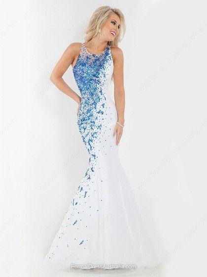 Trumpet/Mermaid Organza Scoop Neck Sequins Floor-length Formal Dresses -AU$233.59
