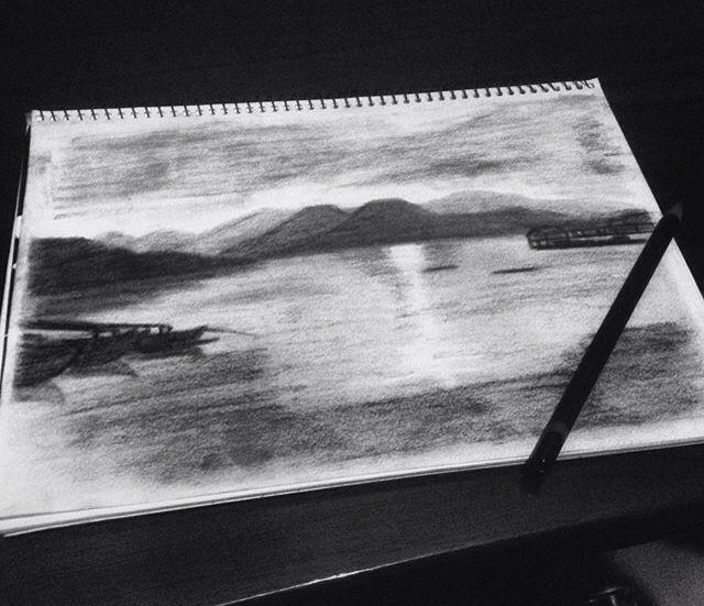 Sunset on paper   #sketch #art #artwork #sunset #pahawang #panorama