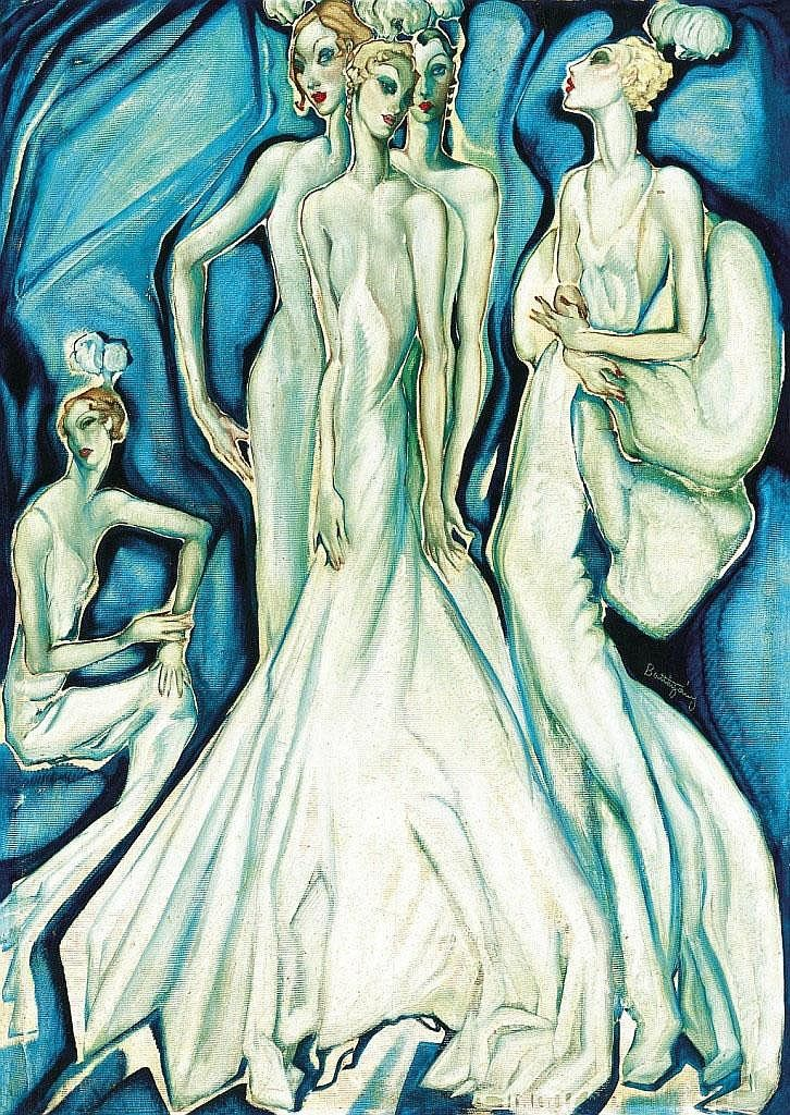 Batthyány Gyula: 1888 - 1959: Mondaine ladies in white evening gowns, around 1930 : 100×69,5 cm: oil on cardboard: signed in the middle right: Batthyány: