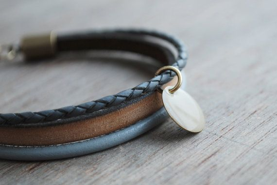 Earthy grey Braided leather bracelet // womens by picturing