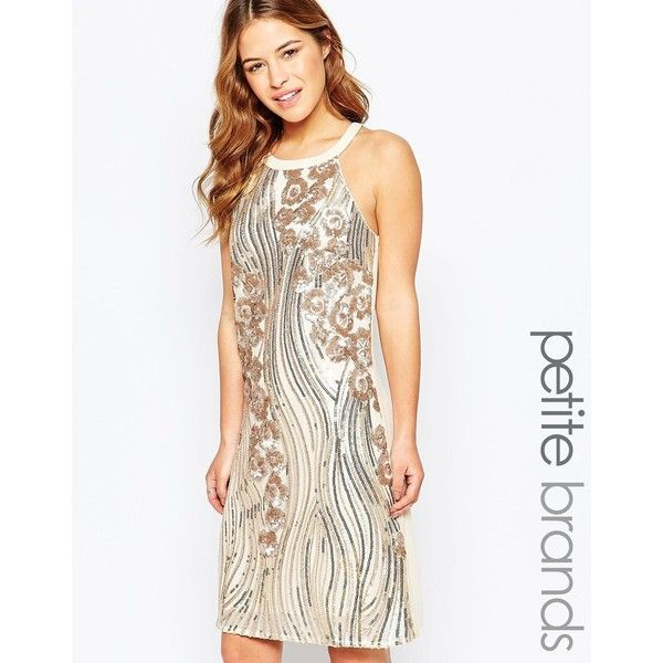 Little Mistress Petite Sequin Embellished Halter Shift Dress (£30) ❤ liked on Polyvore featuring dresses, gold, petite, white halter dress, gold sequin cocktail dress, sequin cocktail dresses, white cocktail dresses and sequin dress