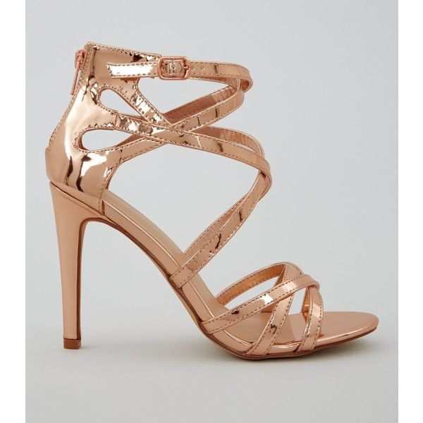 New Look Wide Fit Rose Gold Metallic Strappy Heels (515.135 IDR) ❤ liked on Polyvore featuring shoes, pumps, gunmetal, open toe ankle strap pumps, strappy stilettos, open toe pumps, high heel stilettos and ankle strap stilettos